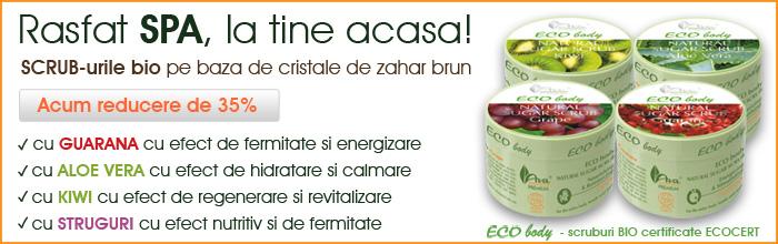 35% reducere la gama de cosmetice bio ECO BODY – scruburi pentru corp 100% naturale
