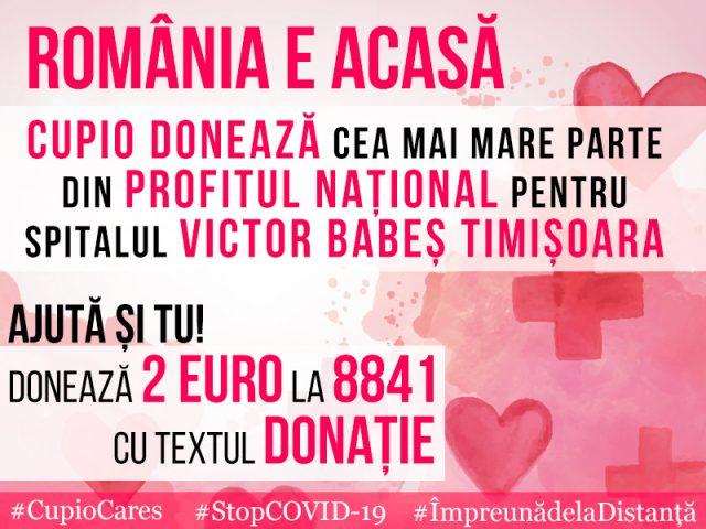 """Pentru Cupio, Romania e ACASA. Brandul timisorean sustine Spitalul de Boli Infectioase """"Victor Babes"""""""
